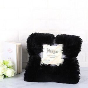 Soft Faux Fur Coral Fleece Blanket Winter Warm Fuzzy Shaggy Fluffy Blanket Cover