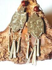 Authentic Indian Earrings £8.99 Vintage Genuine 90's Embossed 90mm.Silvertone