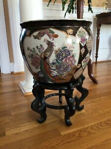Chinese Porcelain Famille Rose Fish Bowl Planter Jardiniere LARGE 14""
