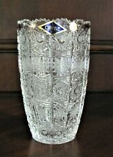 """Bohemia Czech Vintage Crystal Vase, 6"""" tall, hand cut, Queen Lace"""