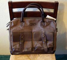 NWT CHAPS Elmhurst Business Briefcase Canvas Laptop Shoulder Bag Tan Brown Gift