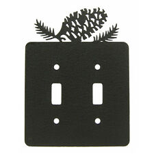 Pinecone black metal double light switch plate cover