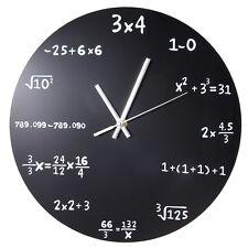 Mathematics Blackboard Pop Quiz Clock Black Powder Coated Metal Modern Quartz