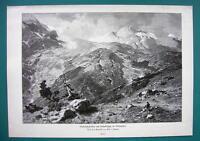 ITALY Ortler Alps Peak of Cristallospitze - VICTORIAN Era  Antique Print