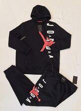 NEW MEN'S NIKE AIR JORDAN SWEATSUIT SET~BLACK/WHITE/RED (HOODIE + PANTS) SIZE XL