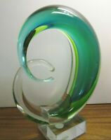 Beautiful Cristalleria Murano Ann Primrose glass sculpture-teal w/original label