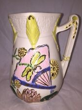 "BEAUTIFUL 6.75"" INCH SQUARE MOUTH VASE-HARP HANDLE-HANDPAINTED SIGNED ""MAV SAN"""
