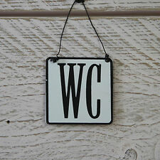 Small Retro Vintage Victorian Style Black White WC Sign Metal Loo Toilet Plaque