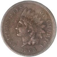1864 L Indian Head Cent Pointed Bust Very Fine Penny VF