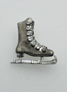 Vintage Platinum Round & Baguette Diamond Figure Ice Skate Small Pin
