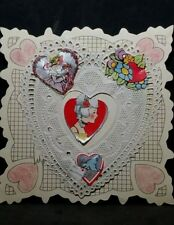 Vintage Childs Hand Made Valentines Day Card Doily & Cut outs pasted on stock