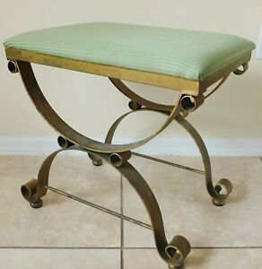 Antique/Vtg Gold X-Base Wrought Iron Green Stripe Upholstered Vanity Bench Chair