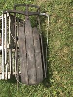 VINTAGE Original  WINTER SLED FLEXIBLE FLYER NO.2E WOOD RUNNERS Great Wall Decor
