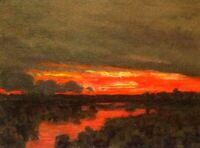 Fire In Sky Sunset Wetland Impressionism Art Oil Painting Landscape Tonalist New