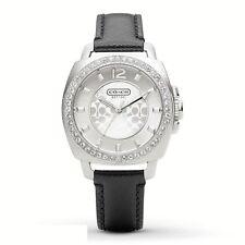 NWT Coach Women's Watch Black Leather Silver Glitz Small BOYFRIEND 14501789 $195