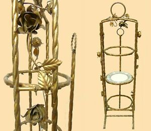 Vintage Italy Gilt Tole Rose Wrought Iron Tiered Tea Serving Stand Plate Display
