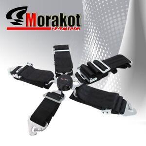 "New God Snow 5 Point Camlock 3"" inch Nylon Quick Release Seat Belt Harness Black"