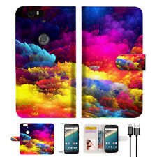 Colorful Cloud Wallet Case Cover For Google Pixel 2 -- A021