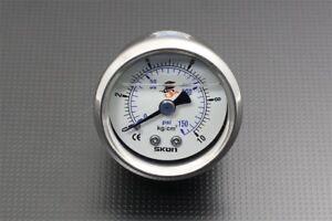 Fuel Pressure Regulator Gauge 1.7inch wide 42mm 0-150 Psi 1/8 NPT In, Oil Filled