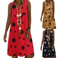 Plus Size Women Sleeveless Vest Midi Dress Casual Baggy Summer Beach Sundress