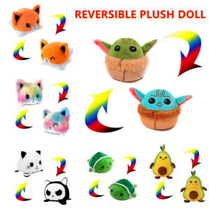 Plush Toy Stuffed Doll Double-Sided Flip Reversible Yoda Cat Mood Meme Kid Gifts