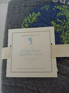 Pottery Barn Kids Outer Space Gray Earth Planets Quilted Standard Sham Sold out!