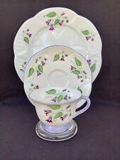 Scarce Shelley FOOTED DAINTY With Purple CAMPANULA Tea Cup Saucer Plate TRIO