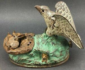 Bald Eagle Eaglets cast iron mechanical bank J E Stevens 1883 antique Bird