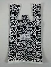 50 Zebra Print Design Plastic T Shirt Retail Shopping Bags Handles 8x5x16