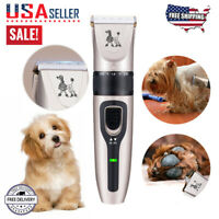 Pet Dog Cat Grooming Clippers Hair Trimmer Shaver Quiet Cordless Dog Clipper USA