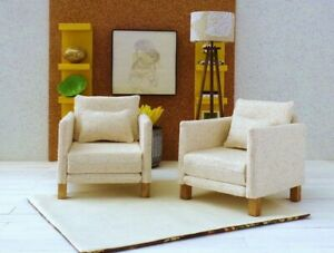 1/6 scale doll Furniture (2) chairs in Ivory Color