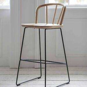 Tall Modern Ash Pale Wooden Metal Kitchen Dining Uley Breakfast Bar Chair Stool