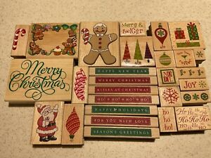 Lot 28 Rubber Stamps Christmas Theme Santa Ornaments Candy Cane Trees Gifts