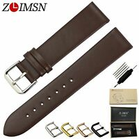 ZLIMSN Ultra Thin Genuine Leather Watch Band Strap Buckle Black Brown 18 20 22mm