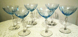 """6 FOSTORIA VERSAILLES BLUE CHAMPAGNE GLASSES 6"""" TALL EXCELLENT STEM 5098 LOVELY!"""