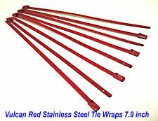 "Vulcan Red Header Wrap Stainless Steel Locking Tie Wraps 7.9"" -  8 Made in USA"