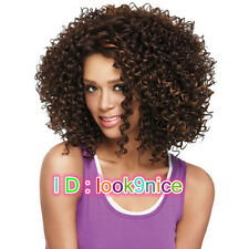African UK Womens Natural Look Synthetic Hair Long Curly Brown mix Afro Wig