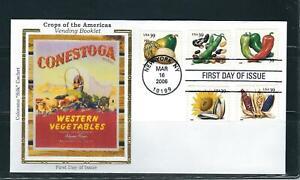 US SC # 4013-4017 Crop Of The Americas FDC. Colorano Silk Cachet