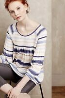 Anthropologie Meadow Rue Blouse Size Blue White Striped Smocked Peasant Top L