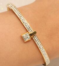 "7"" Round Diamond Cut Yellow Gold Finish Bangle Bracelet in 18K Very Elegant 4ct"