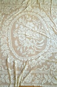 Antique French hand knotted bed cover, huge central floral spray in cartouche