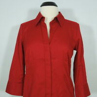 TALBOTS Petites Women's Red Hidden Buttons Blouse, 3/4 Sleeves size 10P