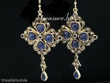 C434 Superb Genuine 9ct SOLID Gold NATURAL Sapphire & Pearl LONG Earrings Huge