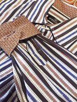 Bugatchi Uomo Men's L Shirt Large Striped Flip Cuffs Long Sleeve Dress Shirt
