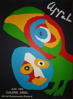 Karel Appel affiche Lithographie 1974 Art Abstrait Abstraction cobra Amsterdam
