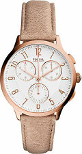 Fossil Women's CH3016 Abilene Chronograph Silver Dial Light Brown Leather Watch