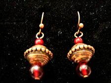 Bronze copper brown tone red bead droplet dangle hook drop earrings new