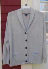 "TOMMY HILFIGER Gray Cotton/Nylon/Viscose Button Down Cardigan XXL (49"") 1X MINT"