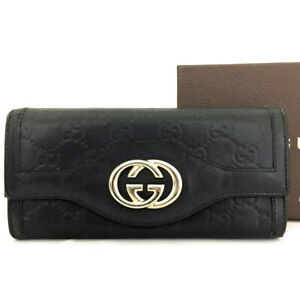 GUCCI Sima GG Logo Brown Leather Long Bifold Wallet /82542