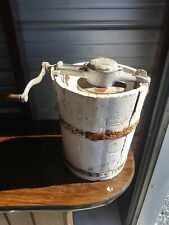 Vintage 4Qt Hand Crank Ice Cream Maker-Steel Frame/Cedar Tub RARE